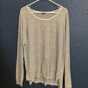 VINCE linen round neck striped pullover top